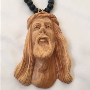 Other - Carved Jesus Face Wood Necklace